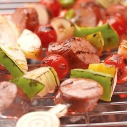Smoked Sausage Kabobs Recipe - In just 10 minutes, Hillshire Farm's smoky and delicious blend of beef, pork, and turkey create a new family barbecue classic.