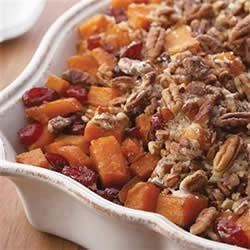 Roasted Sweet Potatoes with Cinnamon Pecan Crunch Recipe - Change up your typical mashed sweet potatoes with this colorful, easy side dish.