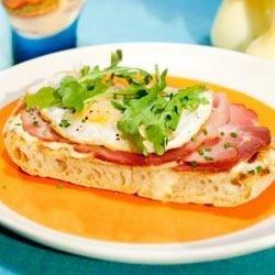 ... Ham Open Face Sandwich with Arugula and Creamy Lemon-Chive Vinaigrette