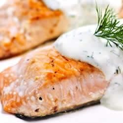 Horseradish and Yogurt Crusted Salmon Recipe - A creamy, zesty mixture of yogurt, horseradish, mustard, and chives makes this baked salmon a standout.
