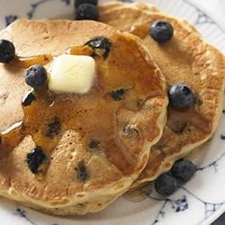 Wholesome Soy Berry Pancakes Recipe - Made from 100% whole-grains, soymilk and fresh berries, these light-as-air pancakes are packed with essential nutrients. And they are lactose-free!