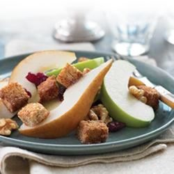 Fall Harvest Fruit Salad with Whole Grain Croutons Recipe - Fruit salad isn't just for summer! This recipe pairs the best fall fruits with homemade cinnamon-sugar croutons.