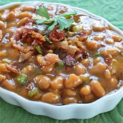 Bebop Baked Beans Recipe - Canned pork and beans, prepared barbeque sauce, and cooked bacon make this a quick and easy side dish.