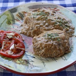Easy Salisbury Steak Recipe - These salisbury steaks have oats, ketchup, and minced dried onion in them and are topped with cream of mushroom soup and onion rings.