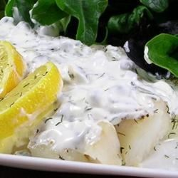 Baked Flounder With Dill And Caper Cream Recipe - Baked flounder fillets are dressed up with a creamy caper sauce in this quick and easy fish dinner.