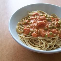 Tomato Alfredo Recipe - For a simple, succulent dish, toss peas with hot fettucini, then drench with juicy, chopped tomatoes, tart sour cream, salt, pepper and a generous grating of Parmesan cheese.