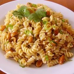 Norris' Sesame Pasta Salad Recipe - Pasta is tossed in a sesame dressing with cilantro, peanuts, and green onions for an Asian-inspired pasta salad perfect for any occasion.