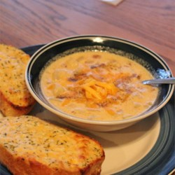 Potato and Cheddar Soup Recipe - This is a smooth creamy soup.  Great for those cold winter days.
