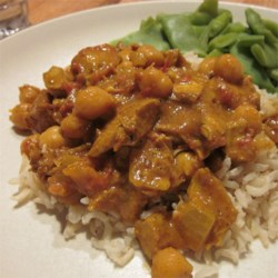 Chickpea and Chicken Curry Recipe - Canned garbanzo beans and cubes of seared chicken breast simmer until tender in a blend of spices and tomato.
