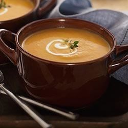 Jenna's Harvest Soup Recipe - Jenna's Harvest Soup is a fall favorite, complete with flavors of roasted garlic, pumpkin and nutmeg.