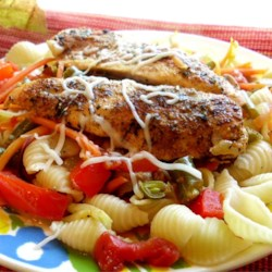 Lemon Chicken and Veggie Pasta Recipe - Cheesy egg noodles are topped with lemony veggies and chicken tenders for an easily prepared weeknight dinner.