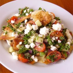 Arabic Fattoush Salad Recipe - This Arabic fattoush salad is a colorful tossed salad with a lemony garlic dressing.