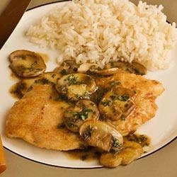 Veal or Chicken Marsala Recipe - Thin boneless chicken breasts (or veal cutlets) are quickly pan fried, then served with a Marsala sauce and sauteed mushrooms and fresh herbs.