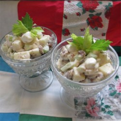 Date-Marshmallow Waldorf Salad Recipe - I've kept this recipe from my Grandmother. Apples, celery, dates and walnuts are dressed in a light fluffy marshmallow cream. It's very good and children seem to love it.