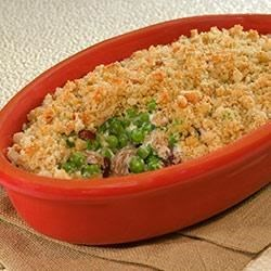 Sweet Pea Autumn Casserole from Country Crock(R) Recipe - Mushrooms, dried cranberries, and green peas combined with a creamy base are topped with stuffing mix and baked until golden brown.