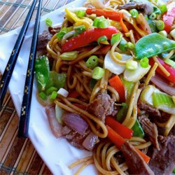 Beef Lo Mein Recipe - Mixed vegetables, flank steak, and spaghetti come together for a homemade Asian-style pasta dish you can easily make in under an hour.