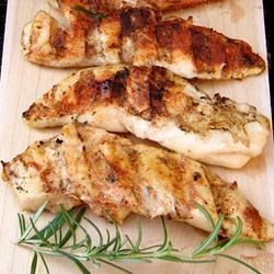 Easy Grilled Chicken Recipe - Marinate chicken in Italian-style dressing and grill with veggies.