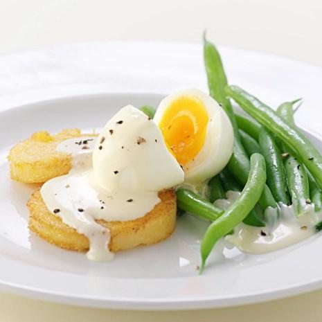 Golden Polenta & Egg with Mustard Sauce