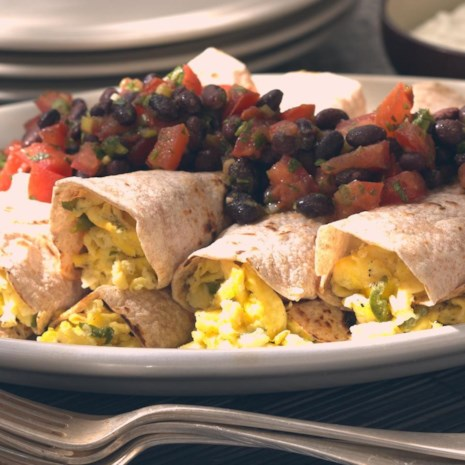 Scrambled Egg Burritos with Black Bean Salsa