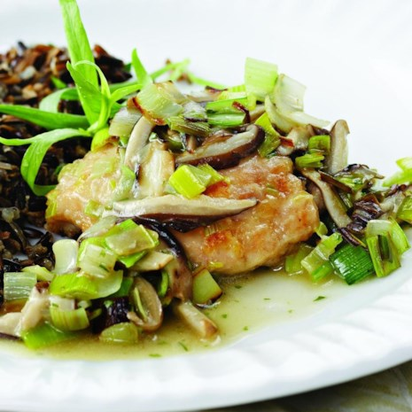 Chicken Thighs with Leeks & Shiitakes