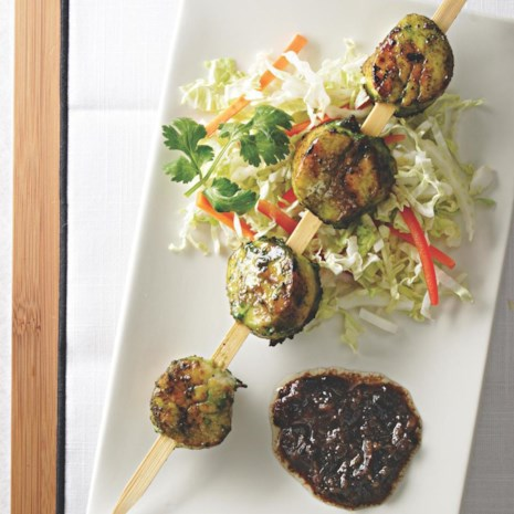 Grilled Sea Scallops with Cilantro & Black Bean Sauce