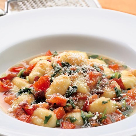 Gnocchi with Tomatoes, Pancetta & Wilted Watercress