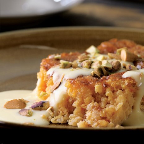 Apricot-Bulgur Pudding Cake with Custard Sauce