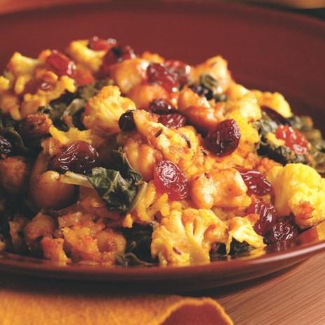 Basmati Rice & Curry Casserole (Chana aur Sarson ka Saag Biryani)