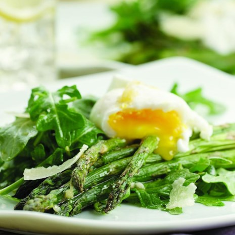 Asparagus Salad Topped with Poached Eggs