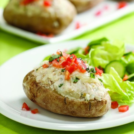 Tuna, Artichoke & Basil Stuffed Potatoes