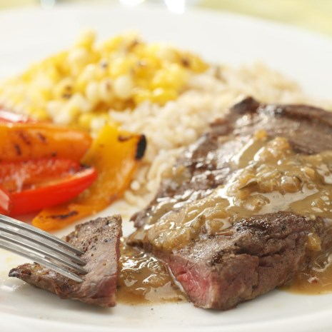 Grilled Steak with Whiskey Dijon BBQ Sauce