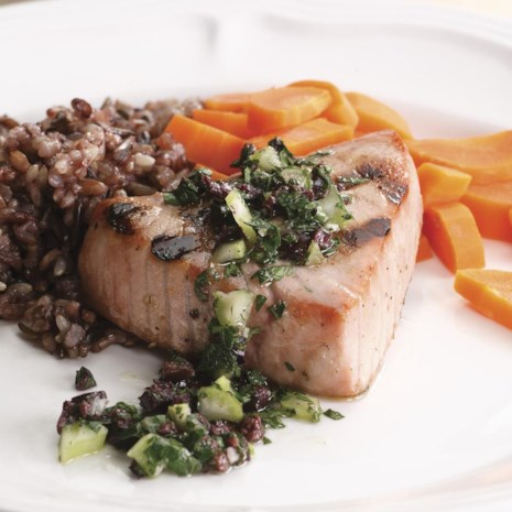Grilled Tuna with Olive Relish