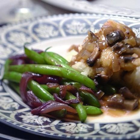 Mashed Garlicky Potatoes with Portobello Gravy
