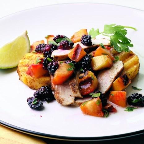 Grilled Chicken & Polenta with Nectarine-Blackberry Salsa