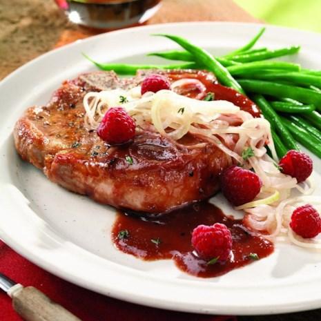 Raspberry-Glazed Pork Chops with Pickled Onions