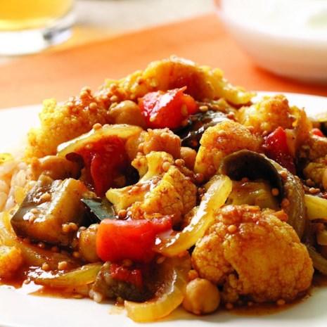 Indian-Spiced Eggplant & Cauliflower Stew
