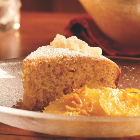 Citrus Ginger Cake with Spiced Orange Compote