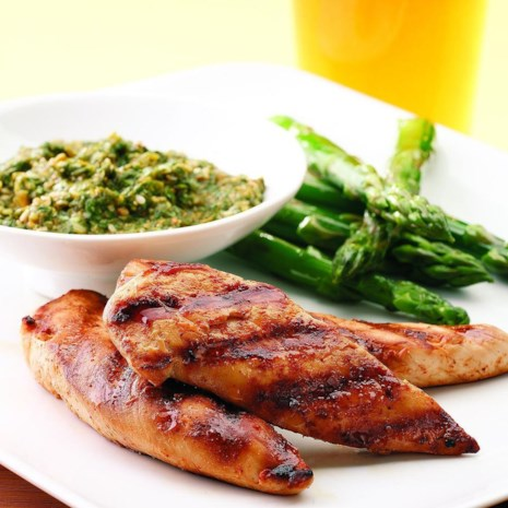 Grilled Chicken Tenders with Cilantro Pesto