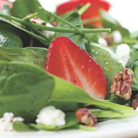 Green Salad with Strawberries & Goat Cheese