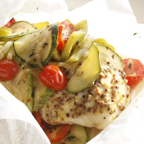 Chicken with Whole-Grain Mustard & Zucchini in Packets