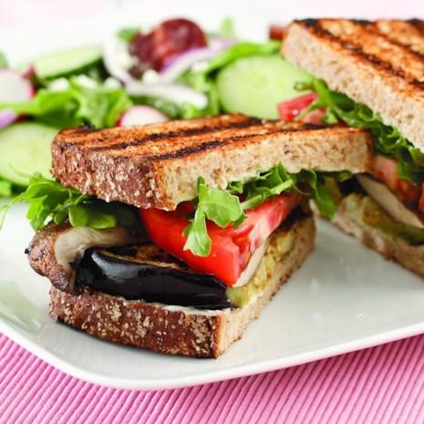 Grilled Eggplant & Portobello Sandwich