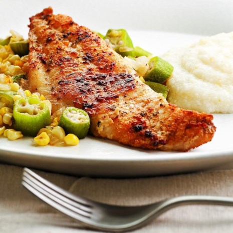 Louisiana Catfish with Okra & Corn