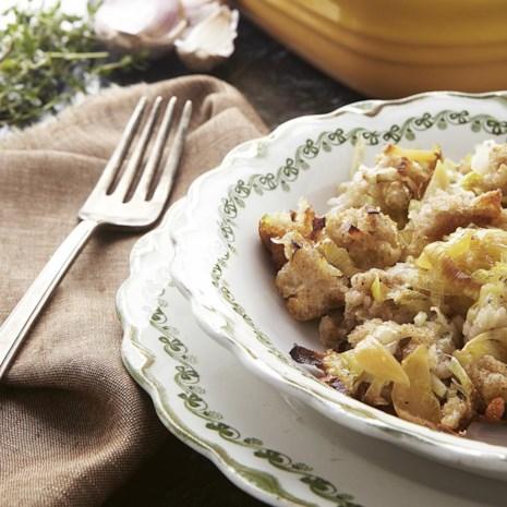 Roasted Garlic & Leek Bread Casserole
