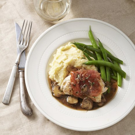 Prosciutto-Wrapped Chicken with Mushroom Marsala Sauce for Two