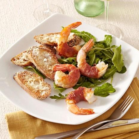 Prosciutto-Wrapped Shrimp with Arugula Salad