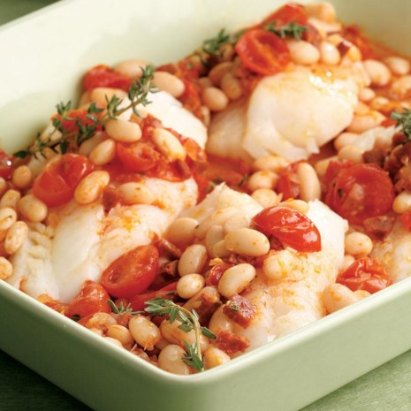 Baked Cod with Chorizo & White Beans