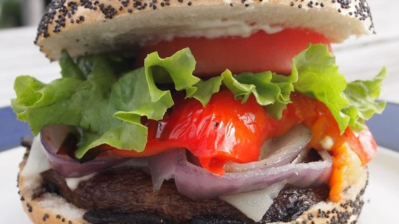Grilled Portobello Sandwich with Roasted Red Pepper and Mozzarella