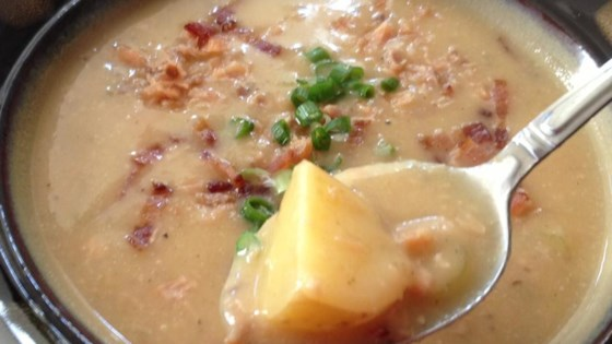 Roasted Garlic Potato Soup with Smoked Salmon