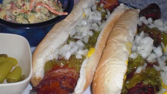 Fried Bacon Wrapped Hot Dog