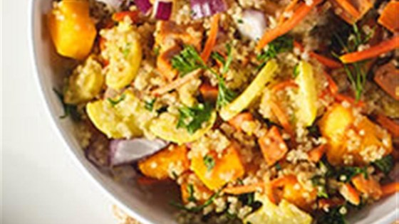 Quinoa Salad with Winter Veggies and Buffalo Chicken Sausage